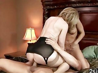 Hot MILF teaches step sons gf to fuck