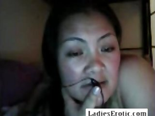 Fat granny and her big tits on webcam skype