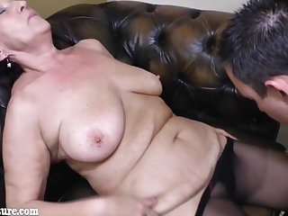 Guy lick topless old granny