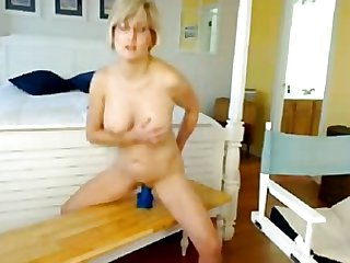 Big Tits Blonde Mom Riding Dildo