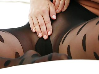 Busty Alison puts her tights in her pussy