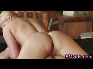 Incredible hot blonde riding cock after massa