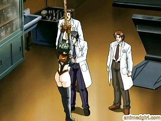 Bondage hentai foursome hard fucked by doctor