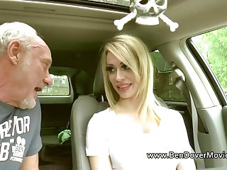 Chessie Kay with two older men rim and gag