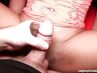 Teen Ladyboy Pushing Hard Cock Into Ass