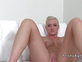 Busty blonde fucking on casting couch
