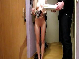 Super Hot Blonde Fucks With Pizza Delivery Gu