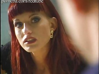 Red hair girl getting fucked by three guys.