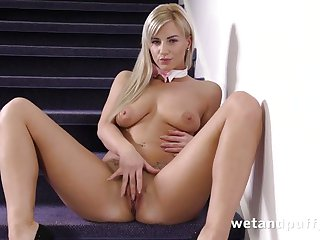 Stunning blonde girl dildoing her hot holes