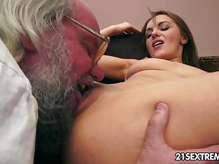 Old man bangs Dominica Fox's tight young puss