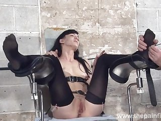 Feet tortures of slave Elise Graves in bdsm