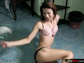 Petite ladyboy is pumping her hairy shecock