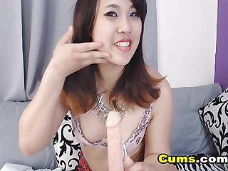 Curvy Asian Babe Rubs Pussy and Fucks Ass wit