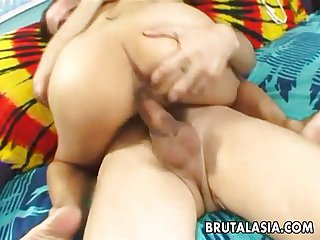 Hot busty Asian slut getting banged up real r