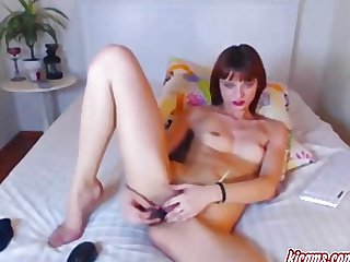 Petite busty ex-miss touches herself, rec.