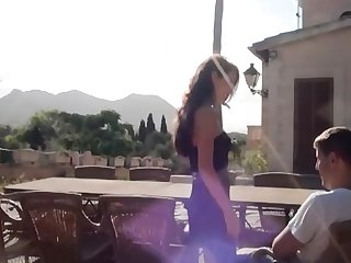 Hot brunette gets fucked out by the bbq pit