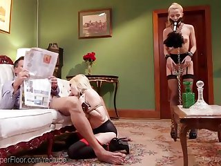 Blonde BDSM Slave Threesome