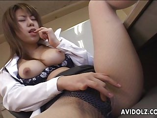 Brunette Asian is toy fucking her wet cunt ti