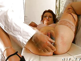 French redhead gets weird anal insertions