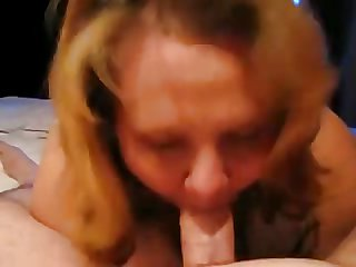 Chubby Housewife Sucking and Swallowing