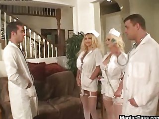 Doctors fuck two busty nurses