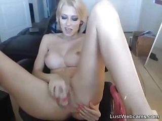 Hot blonde dildoing her pussy and ass on cam