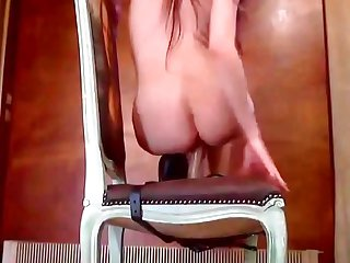 Horny Cam Girl Rides Dildo Strap-on On Chair