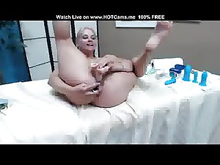 Gorgeous Busty Blonde Toying Both Holes DP
