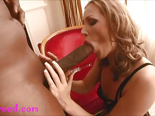 blond MILF get her first monster cock up the
