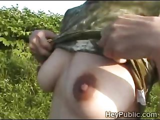 Hot Japanese farm girl fucks outdoors