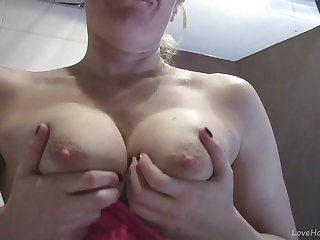Old Wife Shows Off Big Tits And Masturbates